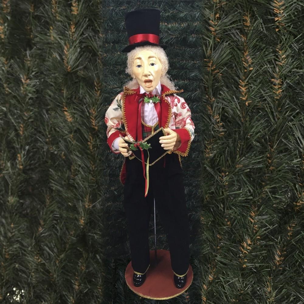 Julesanger, mand, 90 cm, rød, grøn og guld-31
