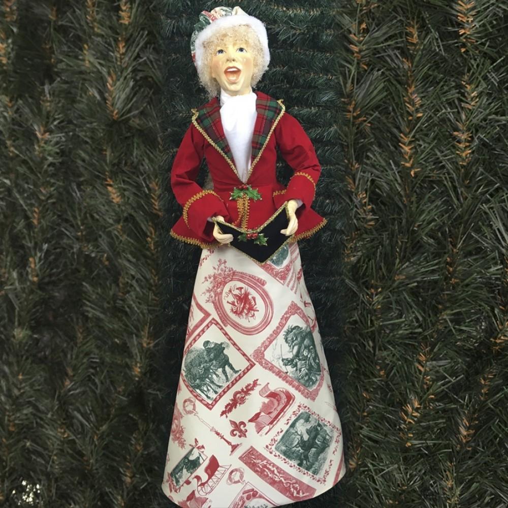 Julesangerinde, dame, 90 cm, rød, grøn og guld-31