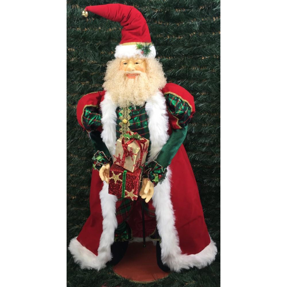 Julemand, 90 cm, rød, grøn og guld-01