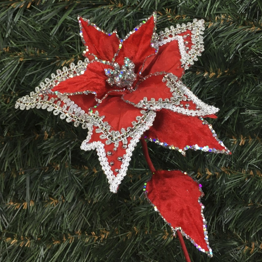 Julestjerne dekogren, rød velour med sølvglitter-31