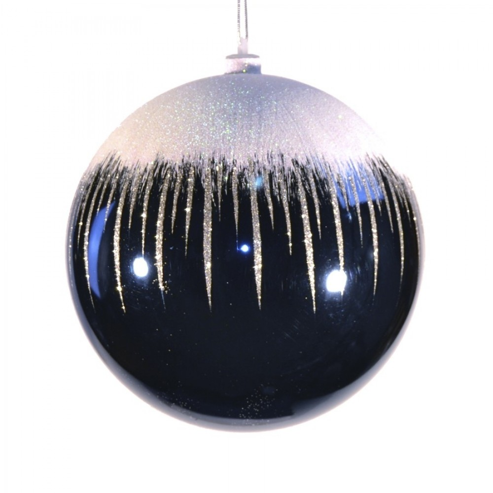20 cm julekugle, blank, dark blue m/sne-31