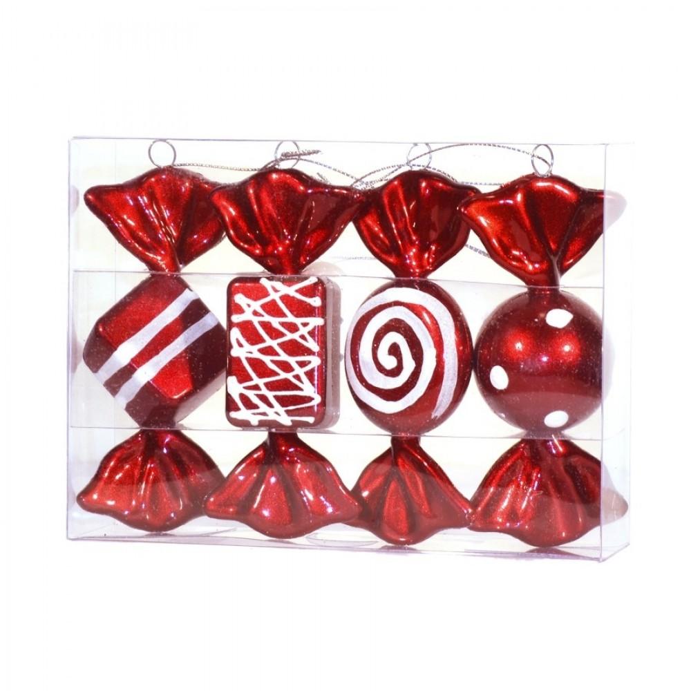 12,5 cm Slik, rød m/hvidt glitter, 4 stk i boks-31