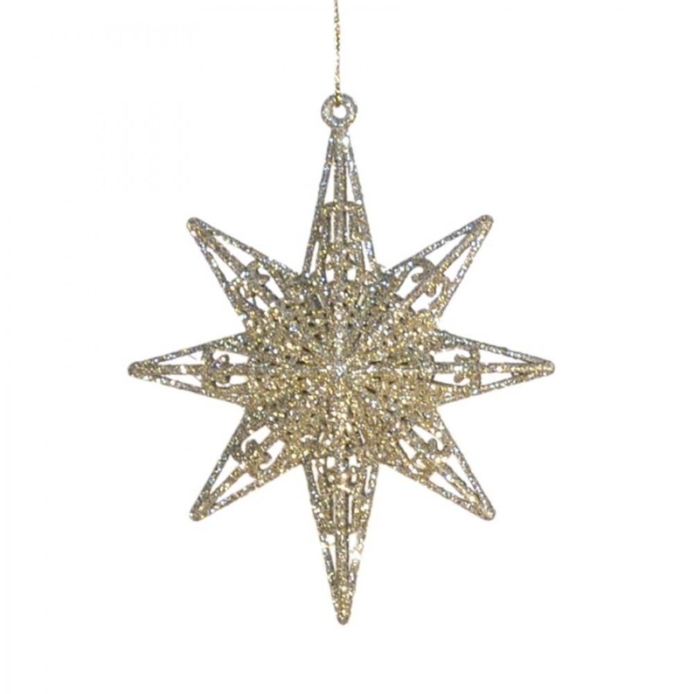 12,5 cm 8-punkt-stjerne, glitter, champagne-31