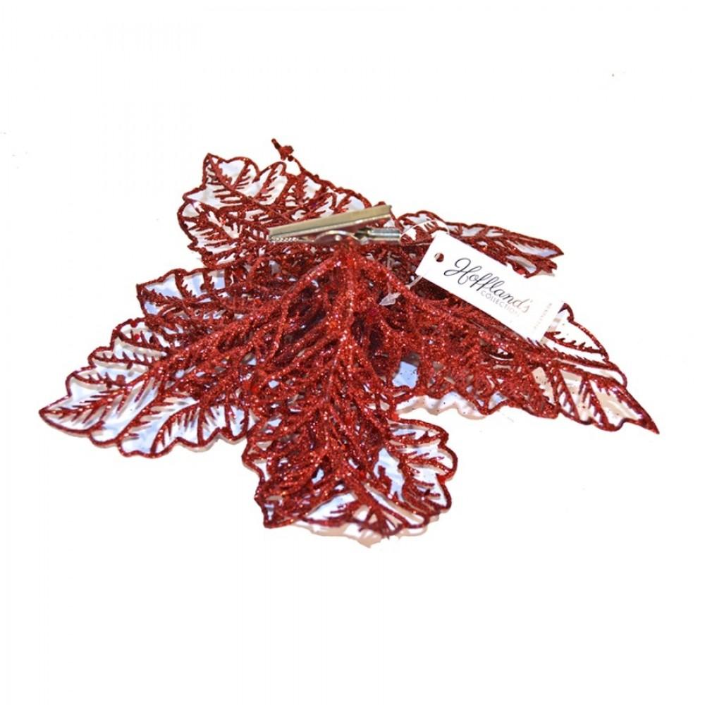 20 cm julestjerne, rødt glitter, med clip-02