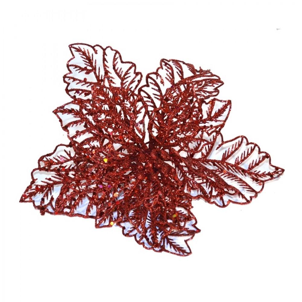 20 cm julestjerne, rødt glitter, med clip-32