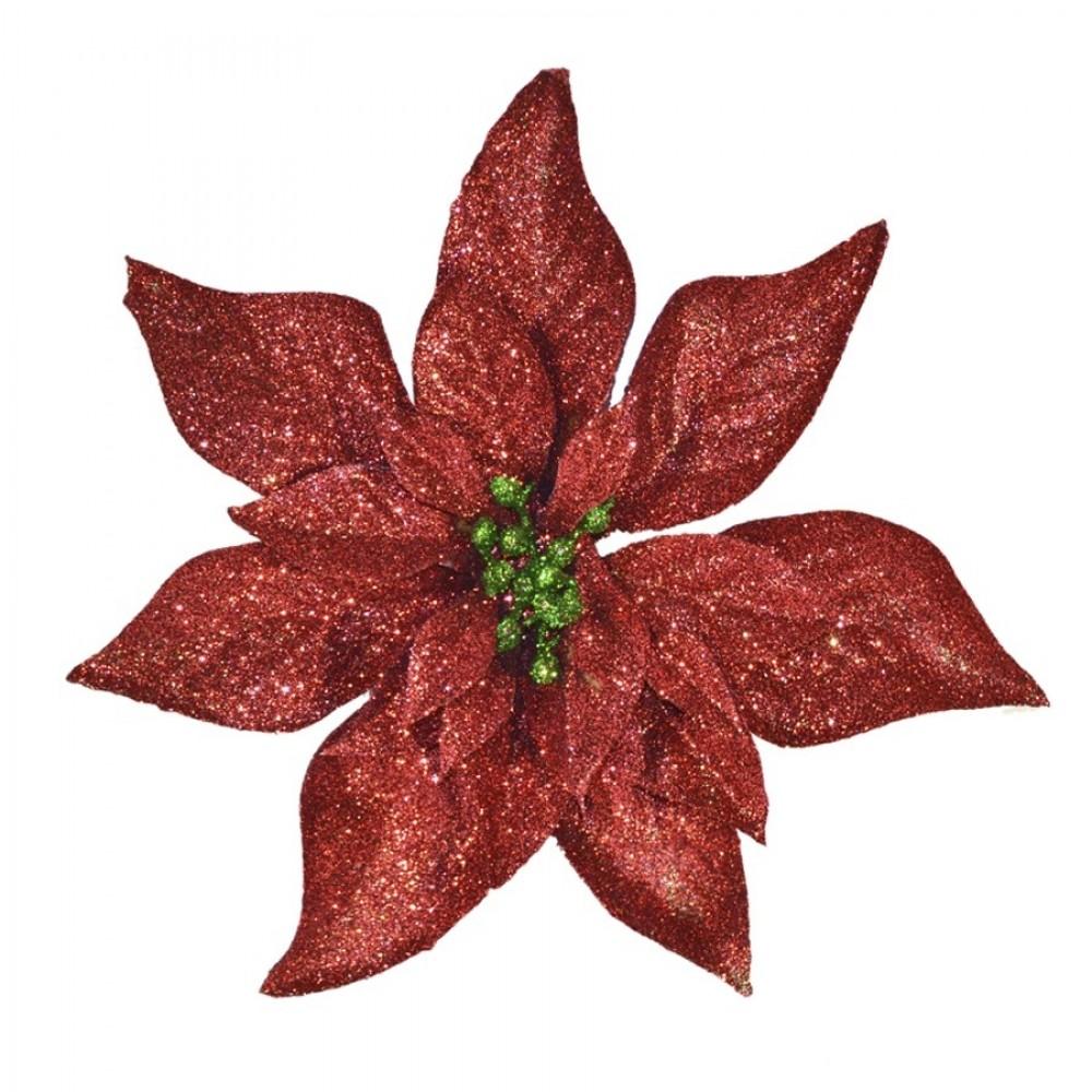 20 cm julestjerne, rødt glitter med grønt glitter-02