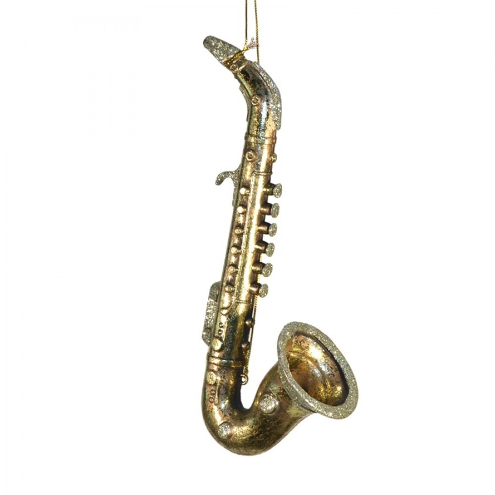 Saxofon antik guld m/champagne glitter, 26 cm-31