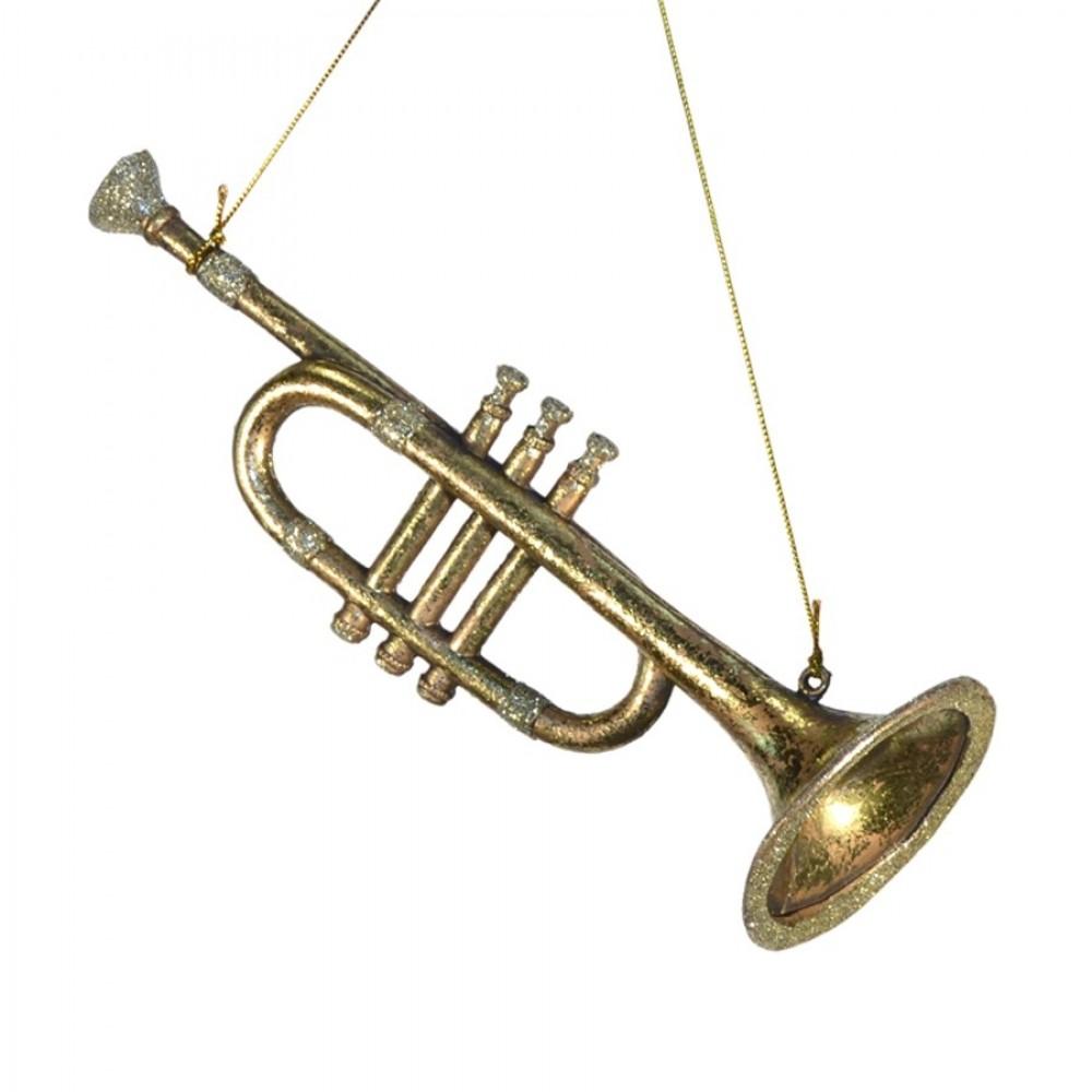 Horn antik guld m/champagne glitter, 25 cm-31