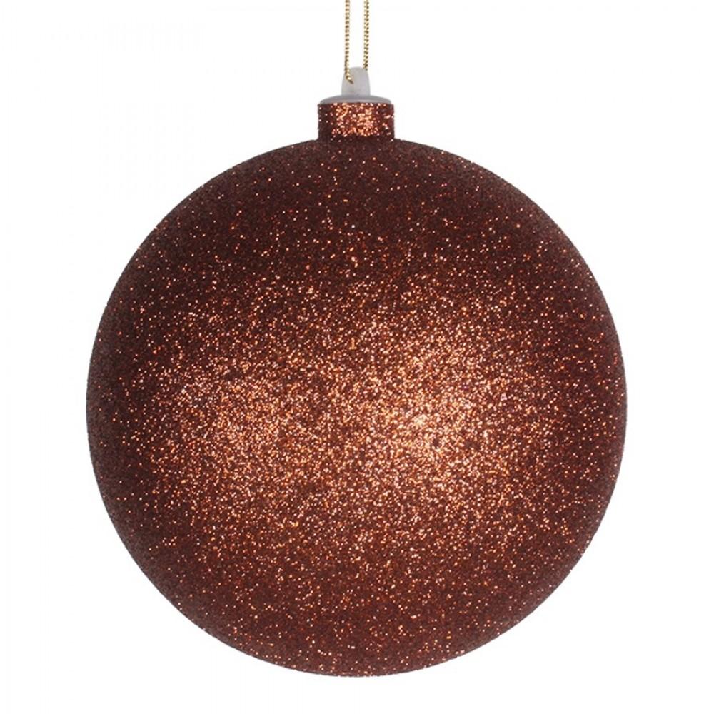 14 cm julekugle, glitter, kobber-31