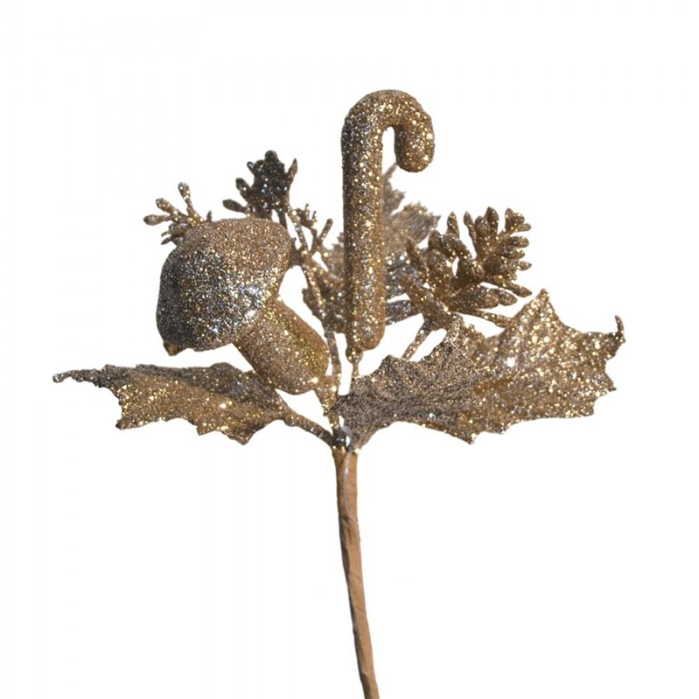 Dekogren med kogle, svamp og slikstok. champagne glitter-31