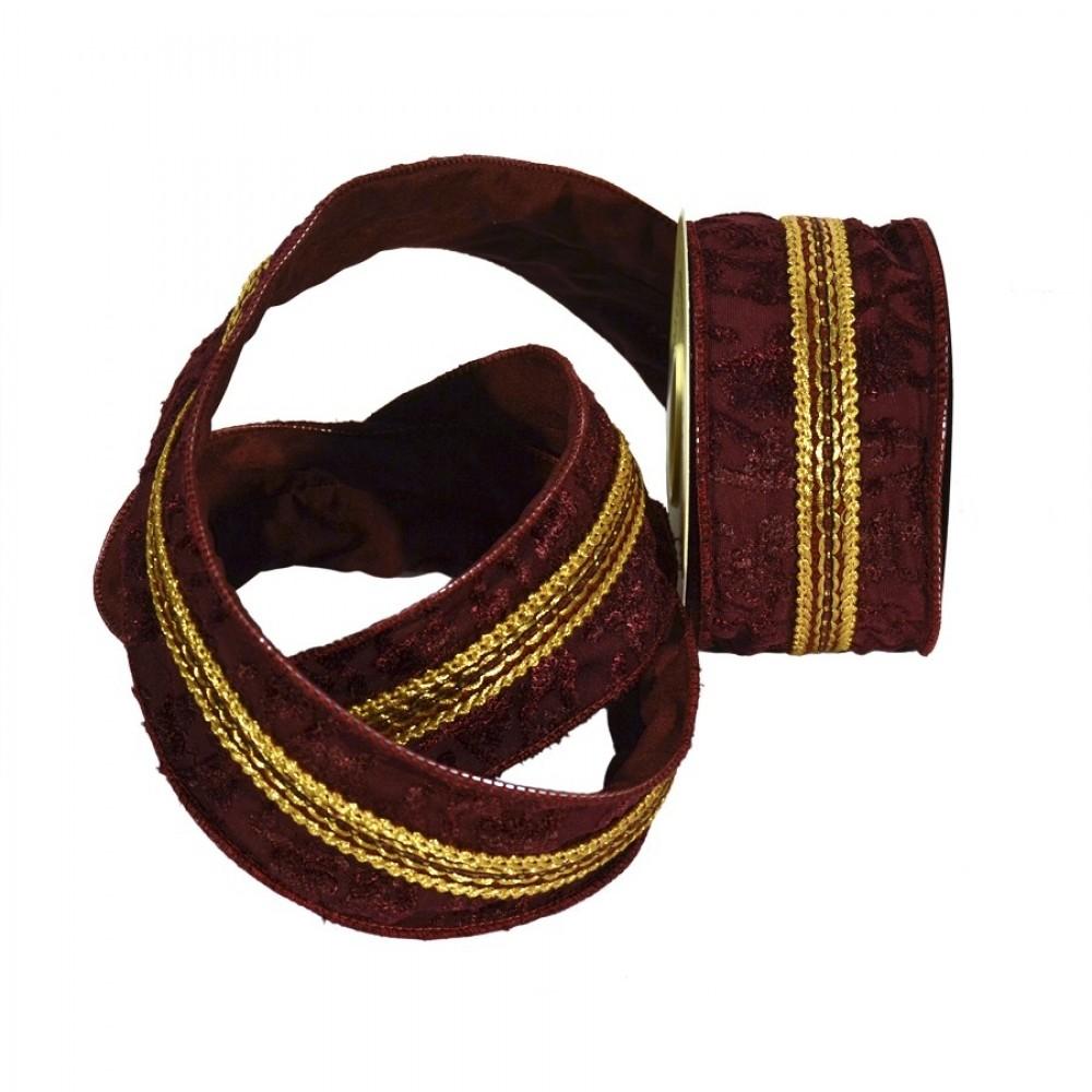 Dekobånd, burgundy med relief og guldtrim-31