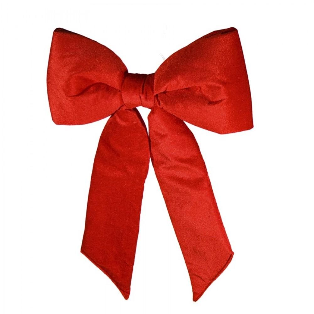 38 cm sløjfe, rødt velour med svalehale-31
