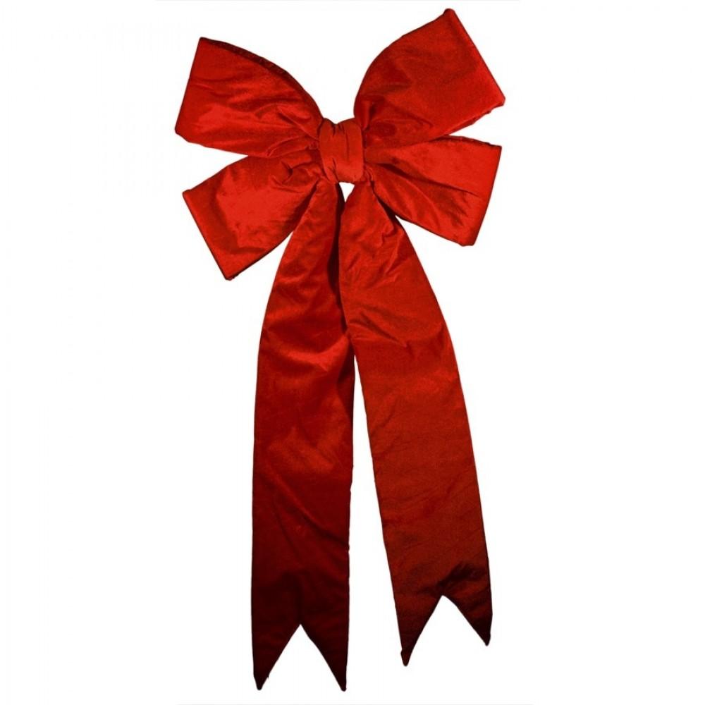 60 cm sløjfe, rødt velour med svalehale-31