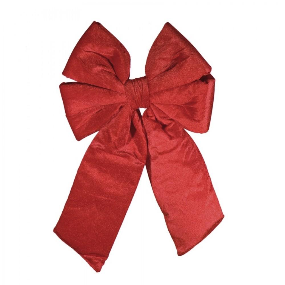 30 cm sløjfe, rødt velour med svalehale-31