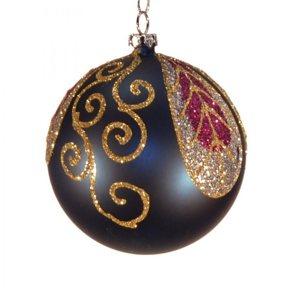 8 cm kugle, mat, dark blue m/blad champagne, guld, burgundy glitter-32
