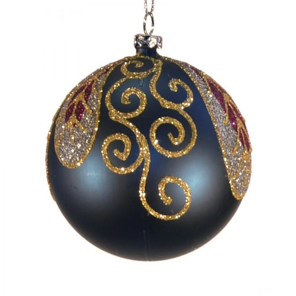 8 cm kugle, mat, dark blue m/blad champagne, guld, burgundy glitter-02