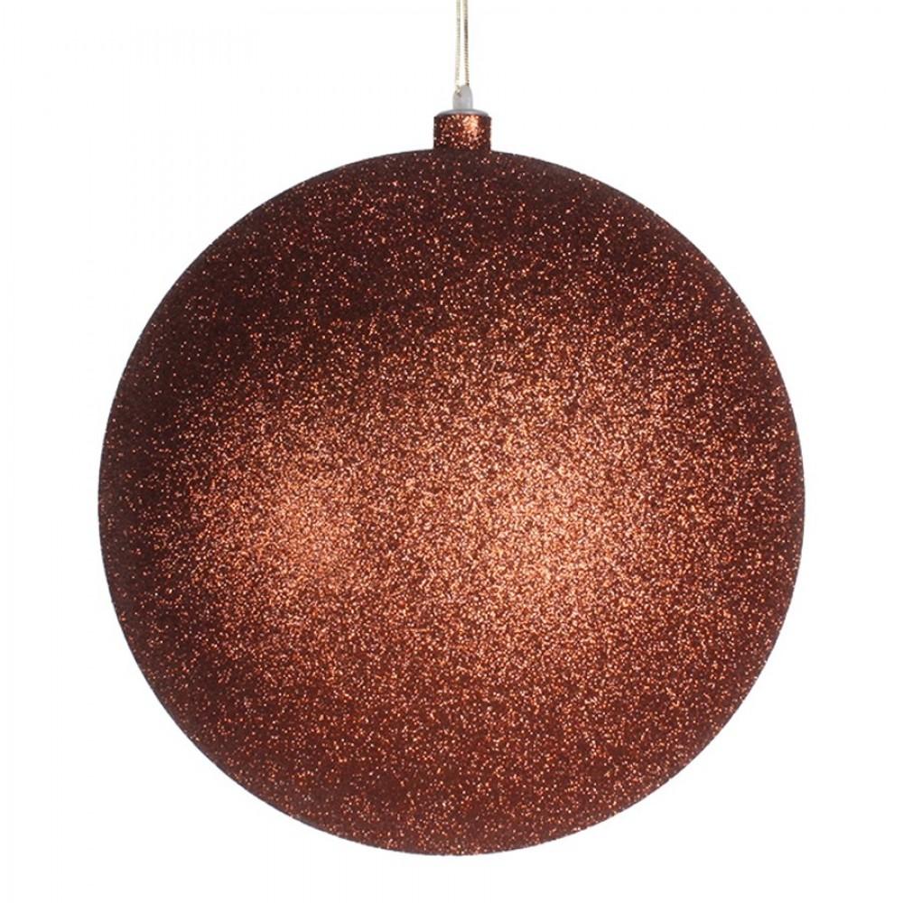 25 cm julekugle, glitter, kobber-31