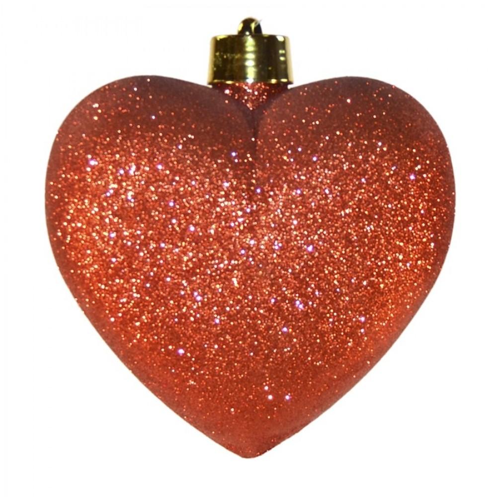 Hjerte, glitter rød, 23 cm-32