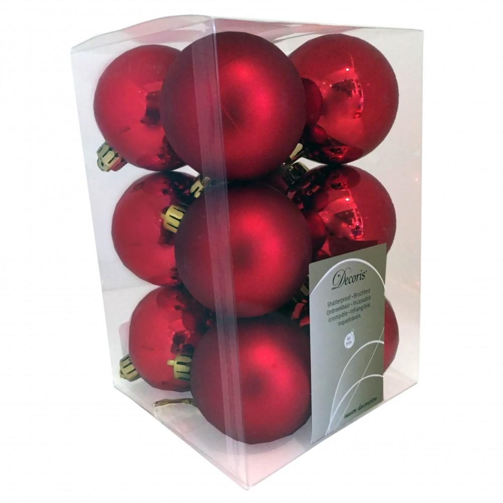 6 cm julekugler, rød, mat og blank, 12 stk i boks-31