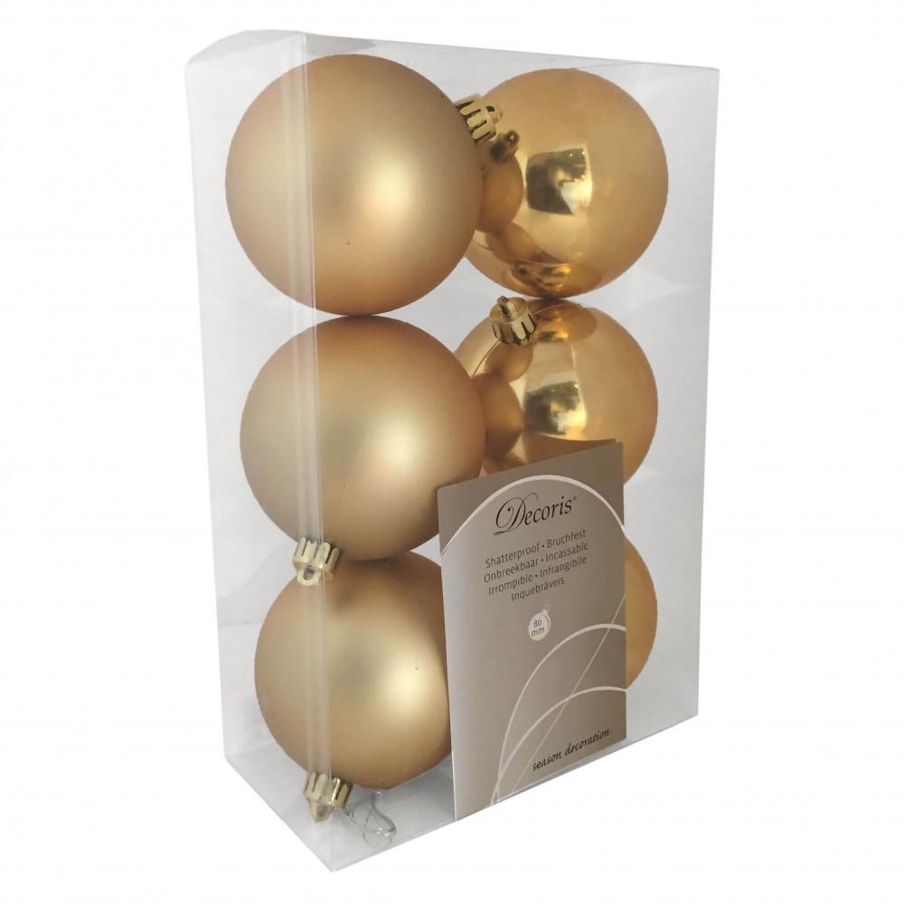 8 cm julekugler, guld, mat og blank, 6 stk i boks-31