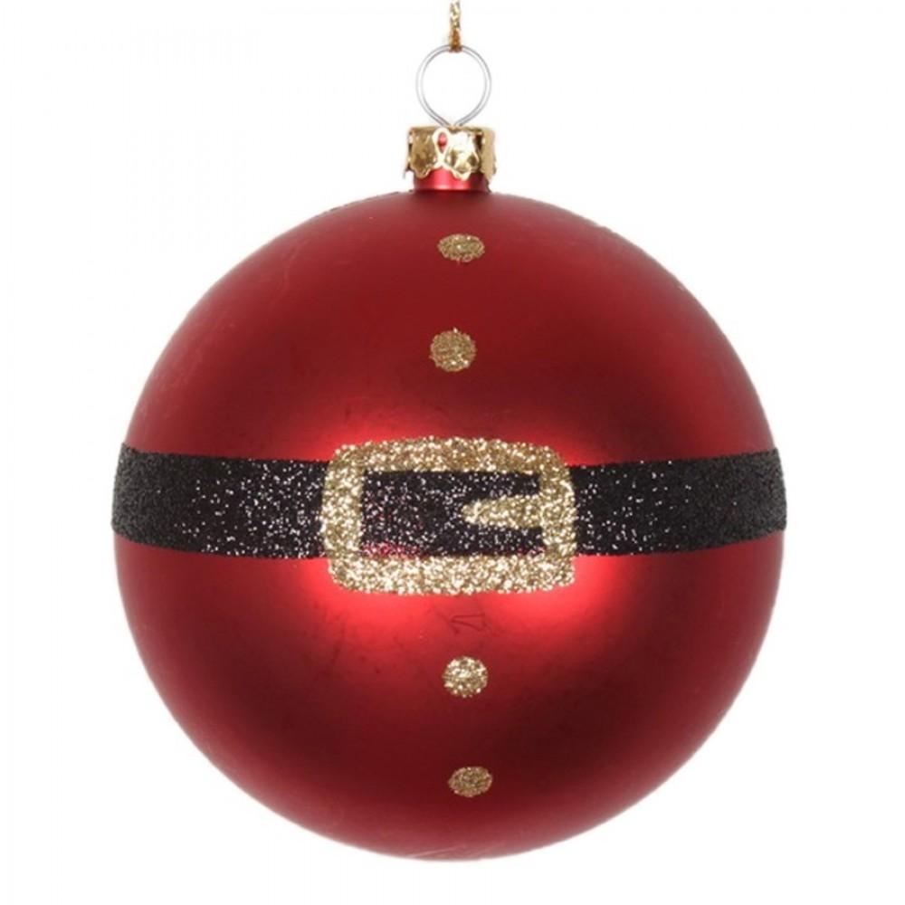 8 cm julekugle, mat, rød m/julemandens bælte-31