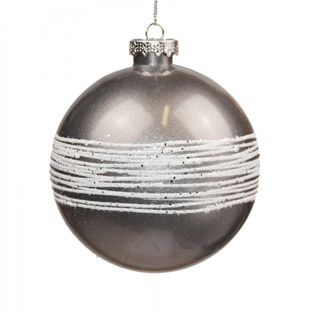 10 cm kugle, sølv perlemor m/ hvidt glitter-31