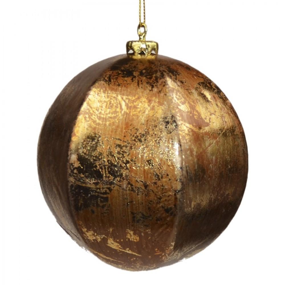 12 cm kugle, guld/brun, papier maché-31