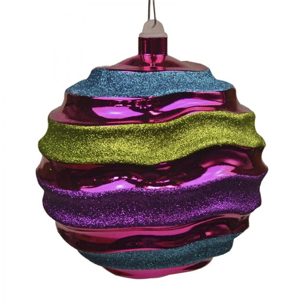 14 cm kugle, blank pink m/turkis, lime og lilla glitter, plast-31