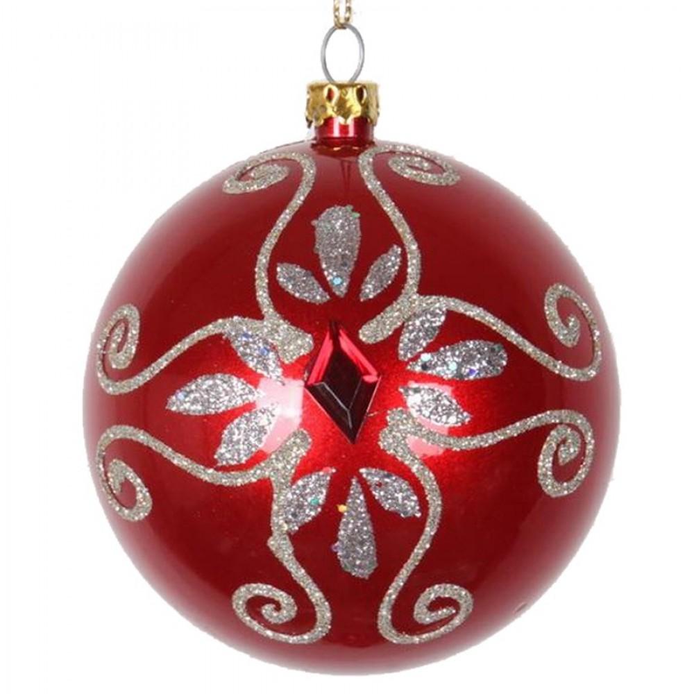 8 cm julekugle, perlemor, rød m/simili og champagne glitter-31
