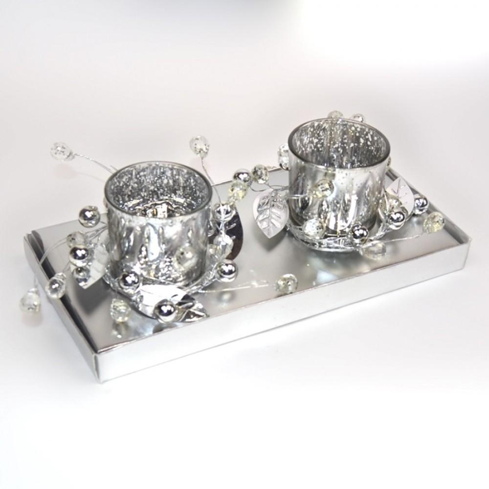 2 fyrfadsstager, sølv m/pynt-32