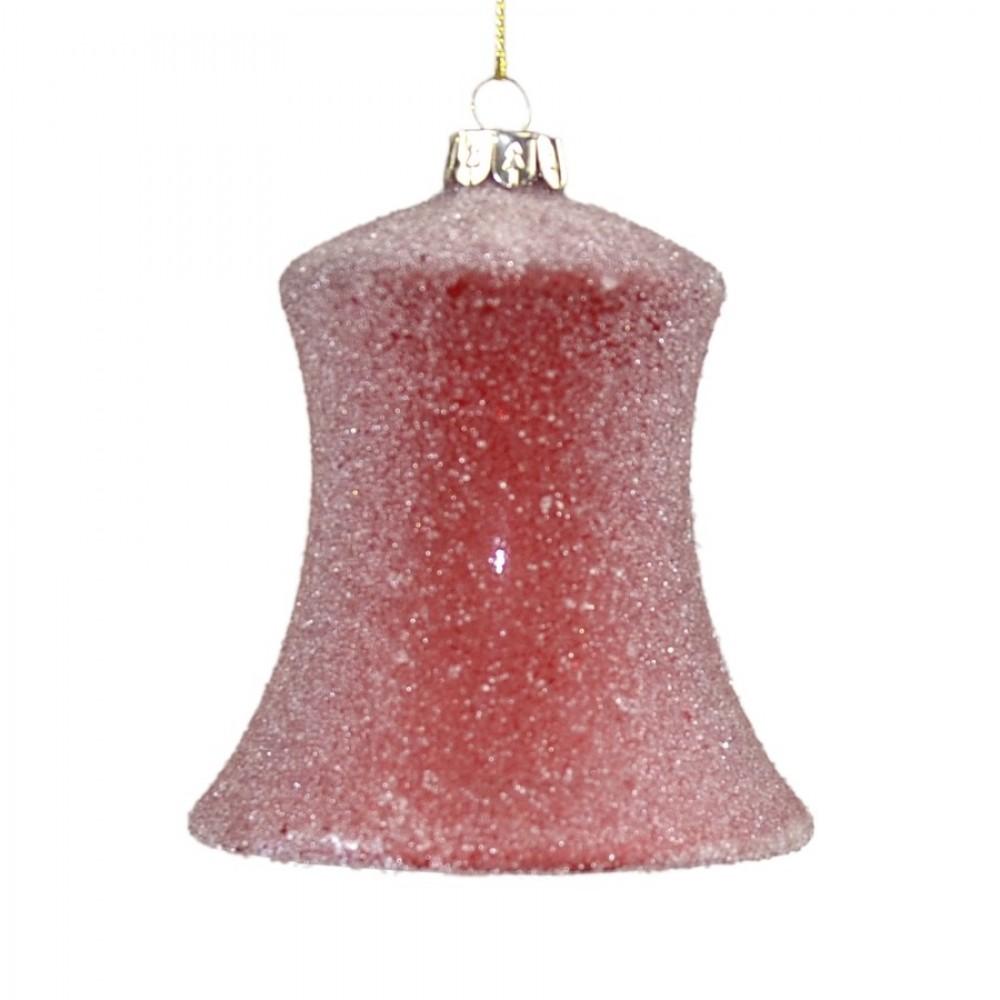 3 glasornamenter, rød m/frostperler, glas-04