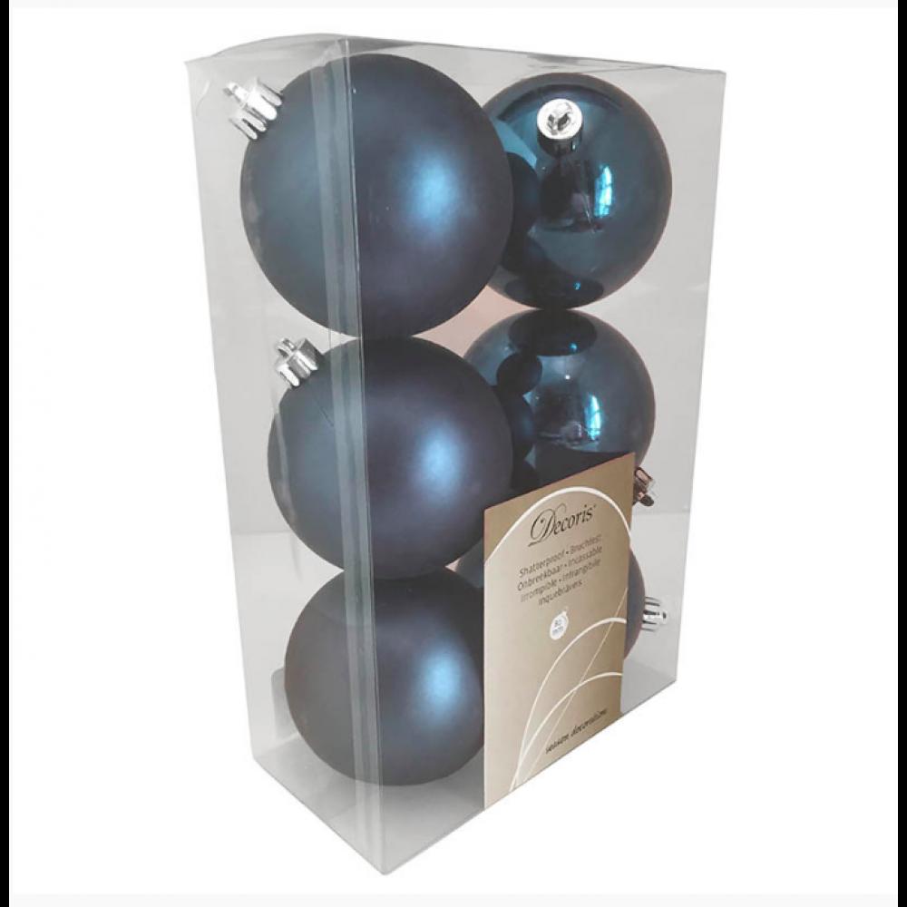 8 cm kugle, midnatsblå, 6 stk i boks-31