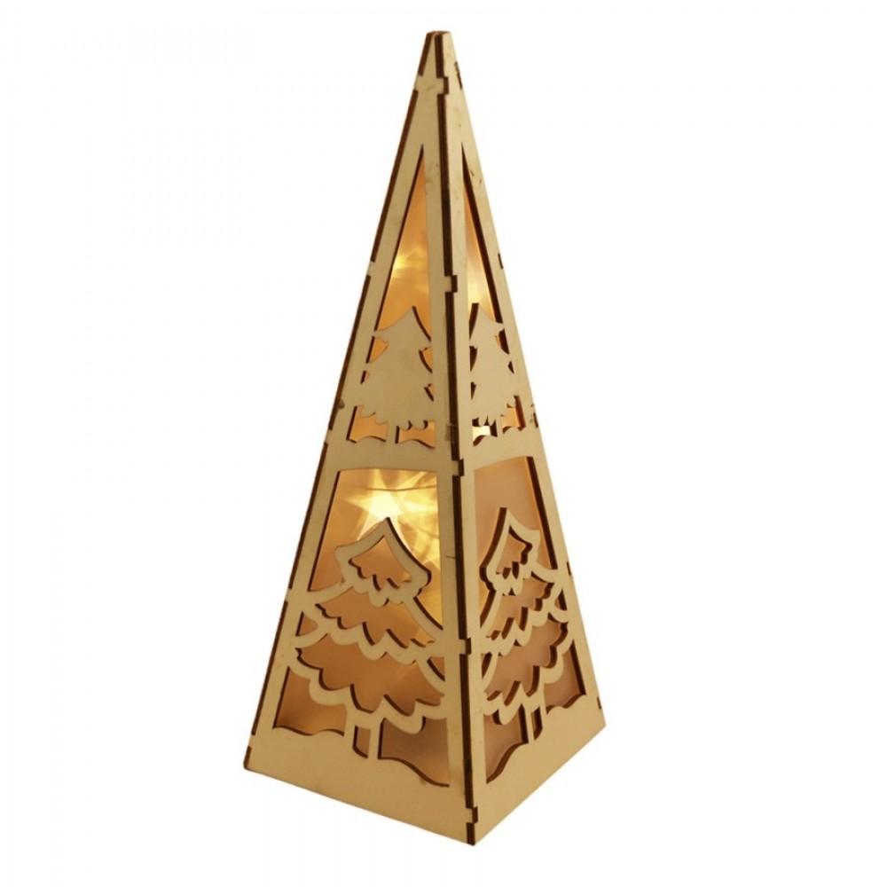 Bordlampe m/LED til batteri, udskåret træ, pyramide-31