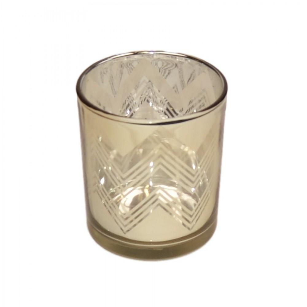 Fyrfadsstage, 8 cm, glas, guld-31