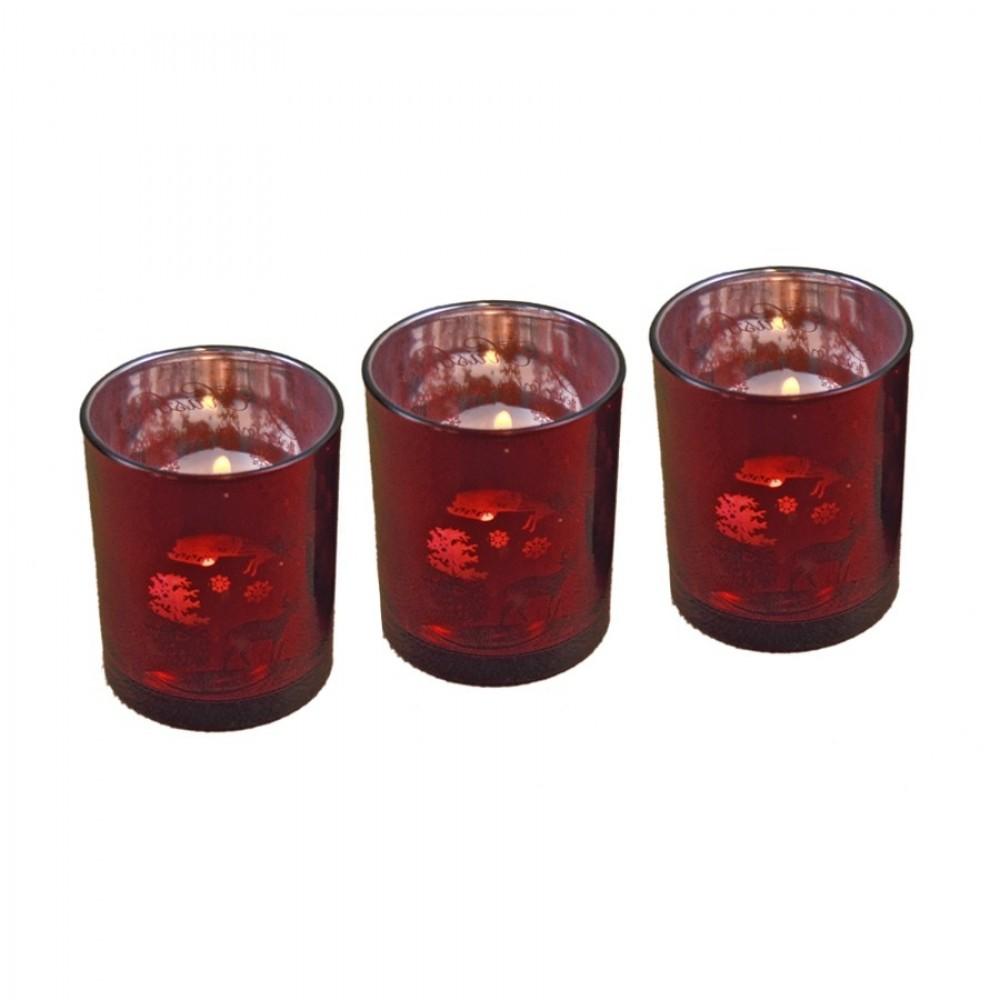Fyrfadsstage, 3 stk, 6,5 cm, glas-31