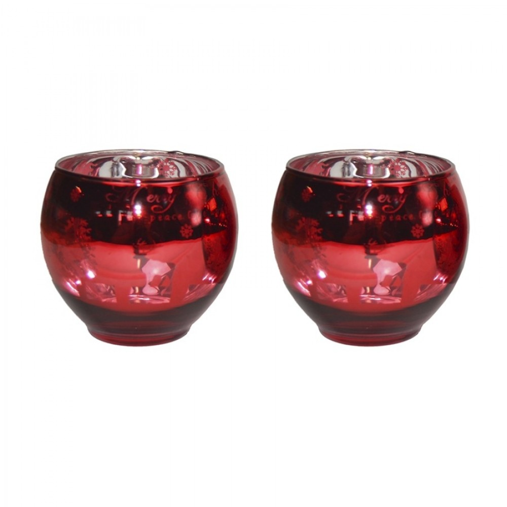 Fyrfadsstager, 2 stk, rød/sølv, Merry Chistmas-31