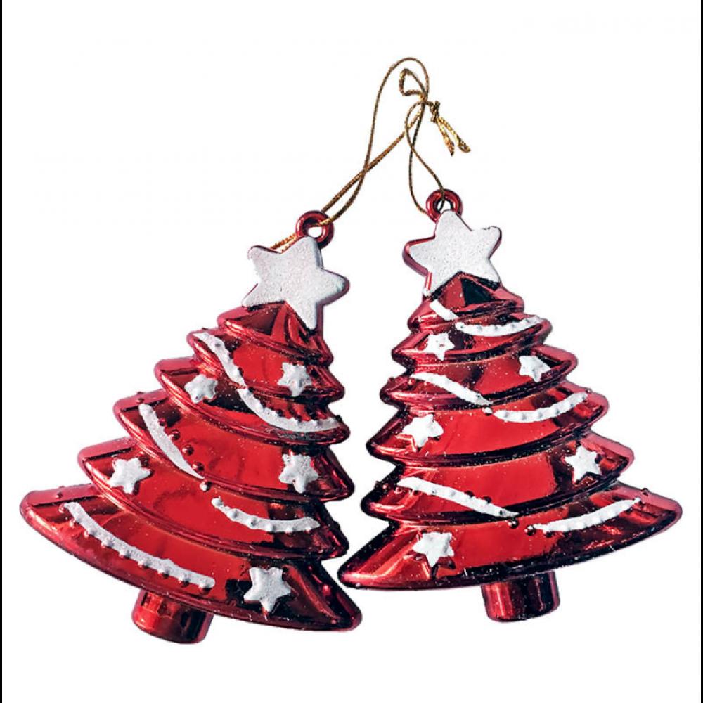 Juletræsophæng, sæt a 2 stk, 7x9 cm, rød med glitter-31