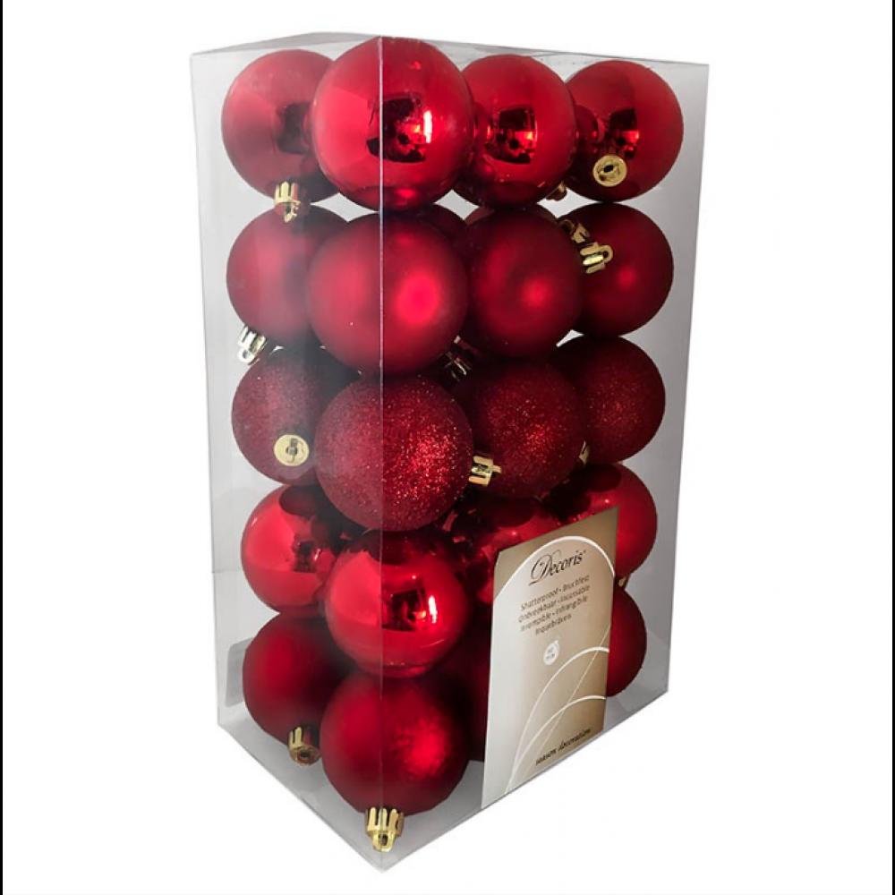 Julekugler, Rød mix, 6 cm, 30stk./boks-35