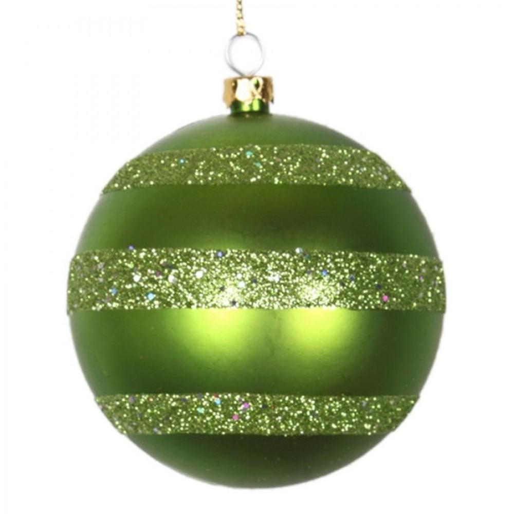 8 cm julekugle, mat, lime m/horizontal lime glitter bælter-31