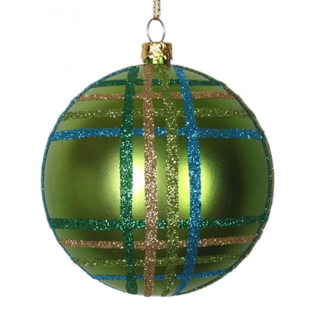 8 cm julekugle, mat, lime m/lime, guld, turkis scotch glitter-31