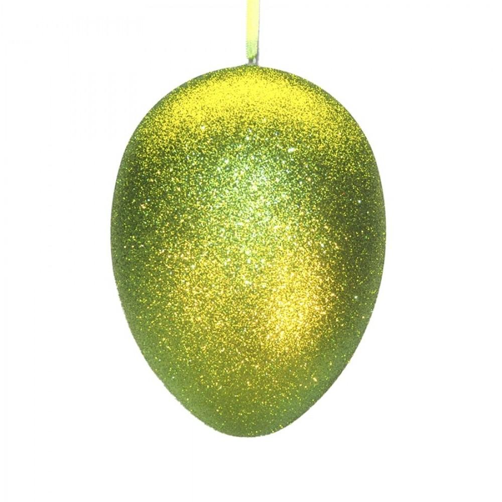 24 cm påskeæg med ophæng, lime glitter-31