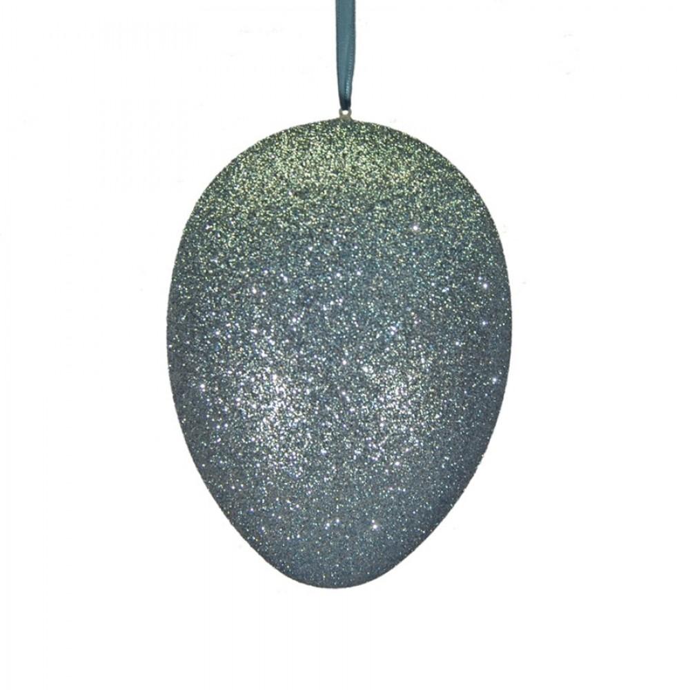 18 cm påskeæg med ophæng, aqua marine glitter-31