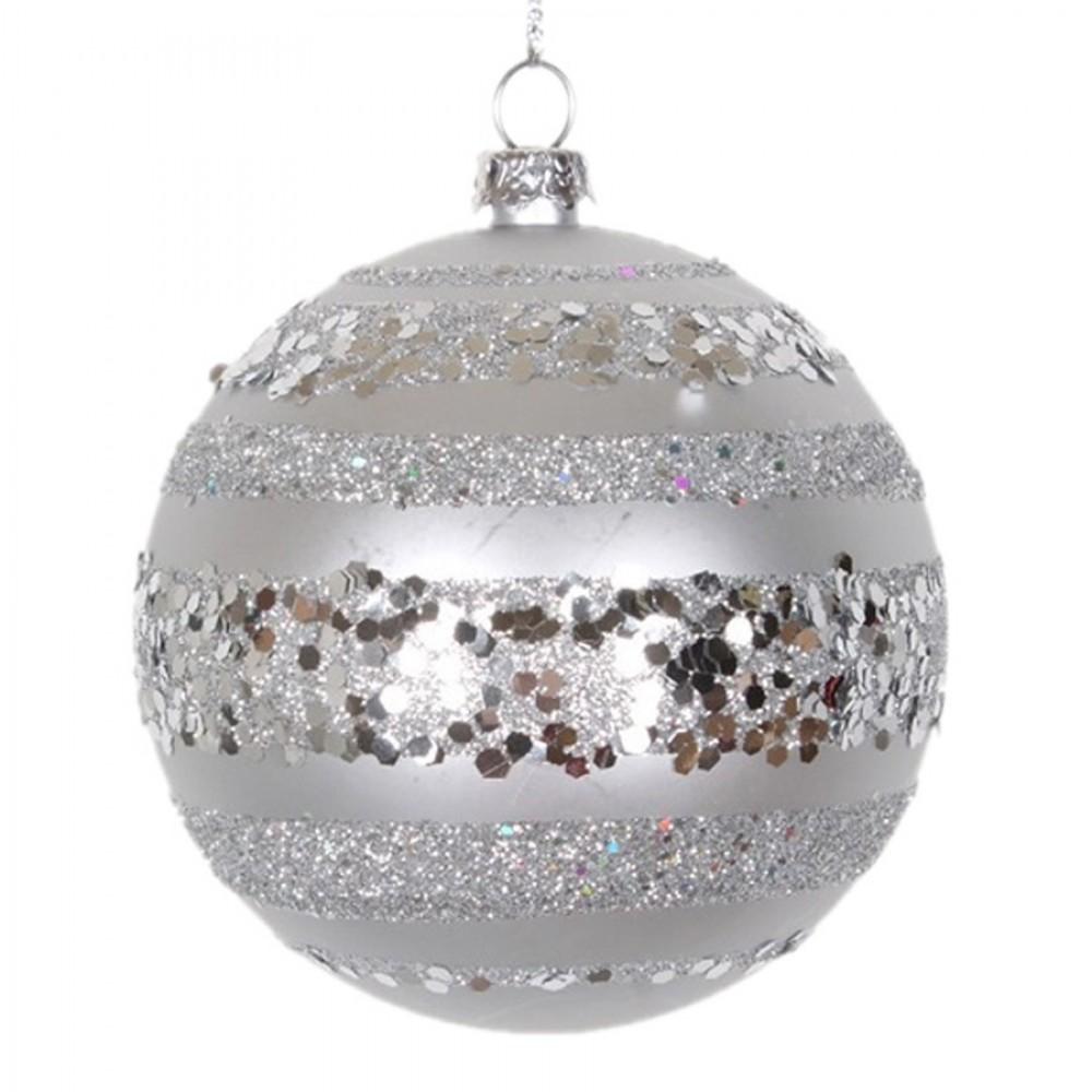 8 cm julekugle, mat, sølv m/horizontal sølv glitter bælter-31