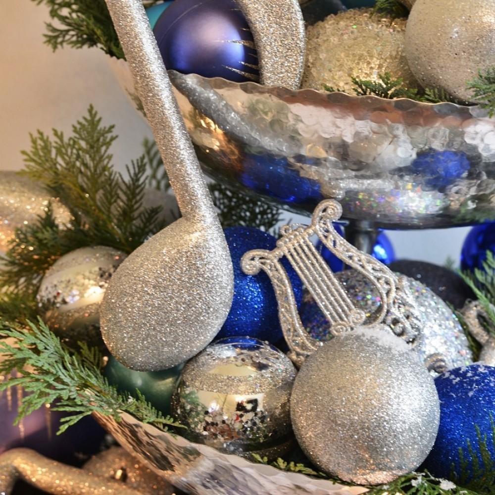 8 cm julekugle, blank, sølv m/horizontal sølv glitter bælter-01