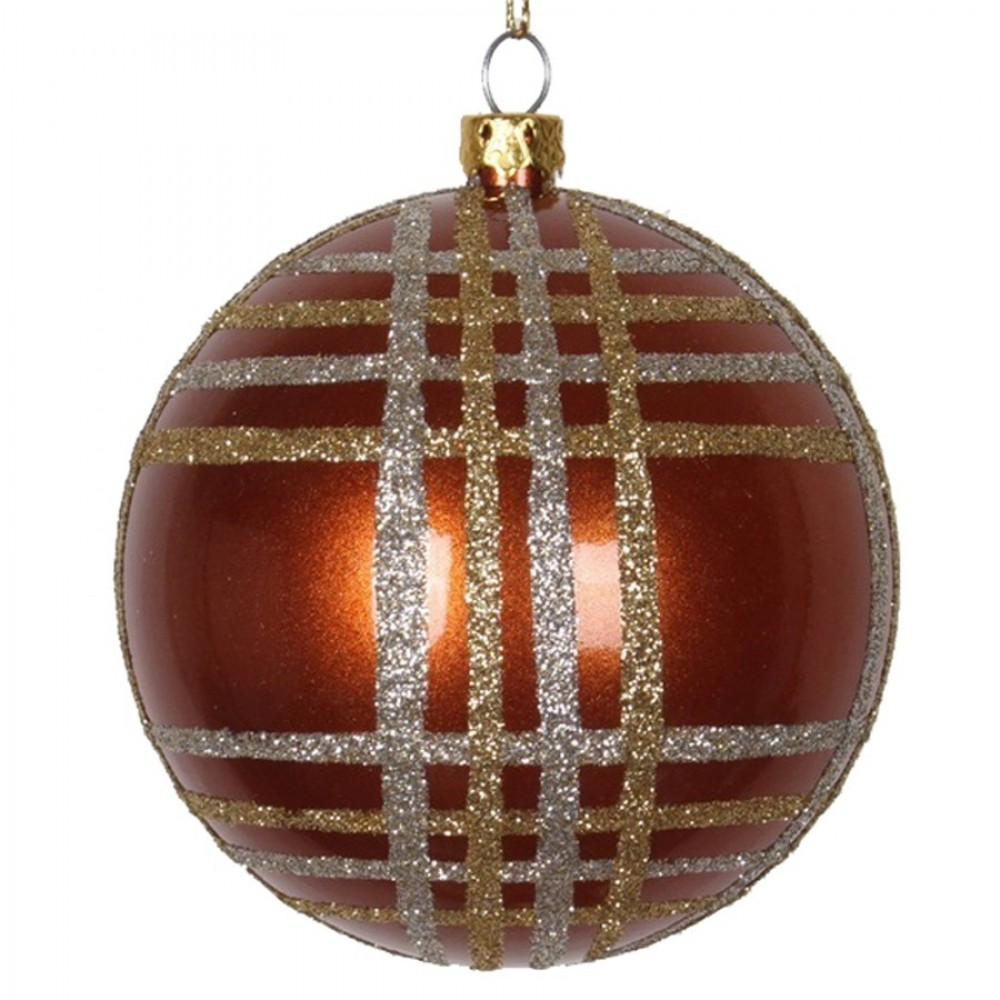 8 cm julekugle, perlemor, kobber m/champagne og guld scotch glitter-31