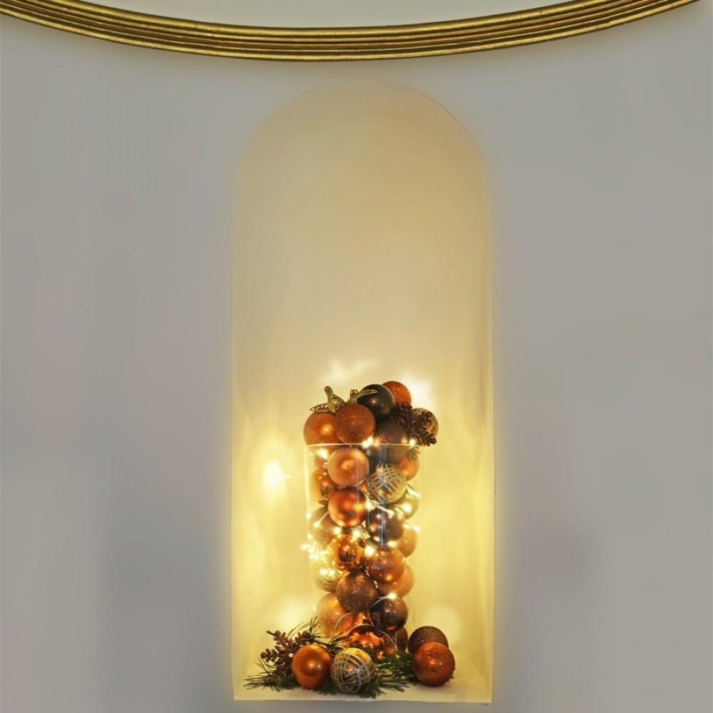 8 cm julekugle, perlemor, kobber m/champagne og guld scotch glitter-01