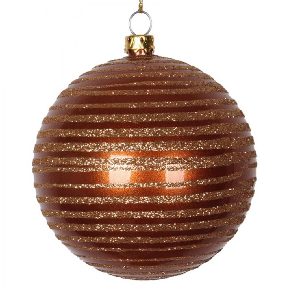 8 cm julekugle, perlemor, kobber med horizontal kobber glitter striber-31