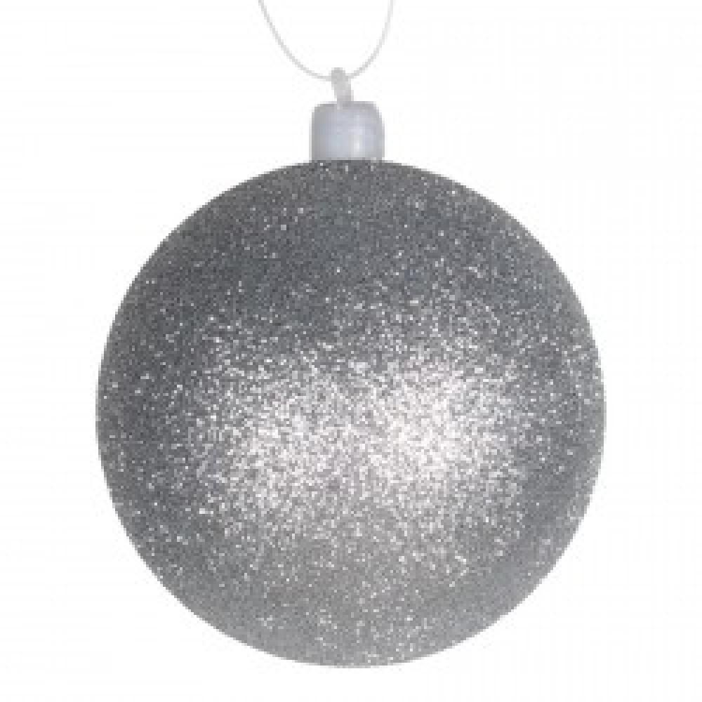 8 cm julekugle med glitter, sølv-31
