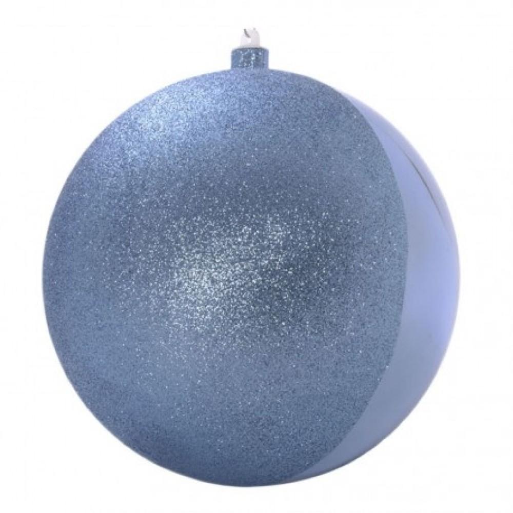 20 cm julekugle, glitter/blank, half/half, gentle blue-31