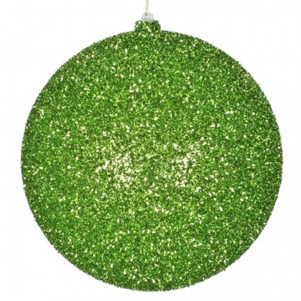 20 cm julekugle, grovglitter, lime-31